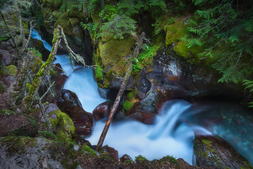 a photograph of avalanche creek in glacier national park montana