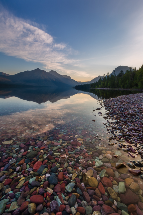 a photograph of glacial till in lake mcdoland in glacier national park montana