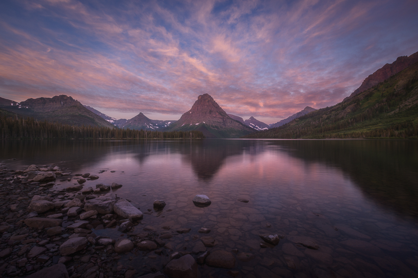 a photograph of two medicine lake in glacier national park montana