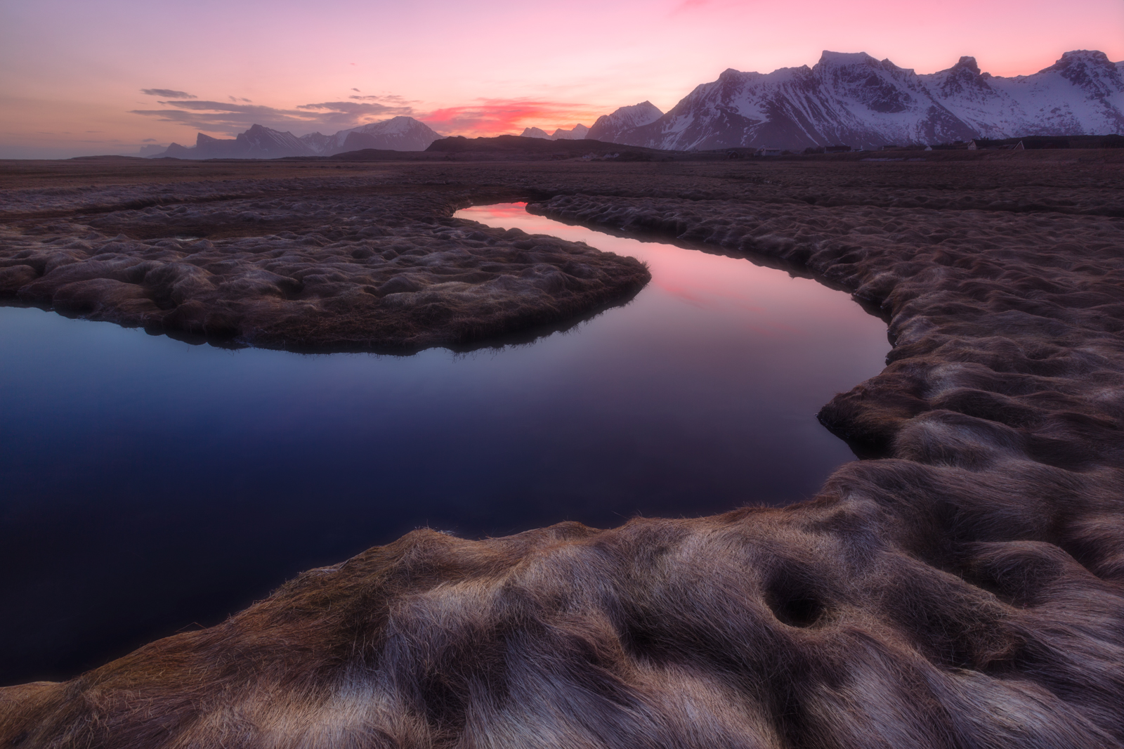 Photo of a blue river running through a field of grass illuminated by pink light at dawn. Snow capped mountain peaks lay on the horizon, taken in Lofoten, Norway