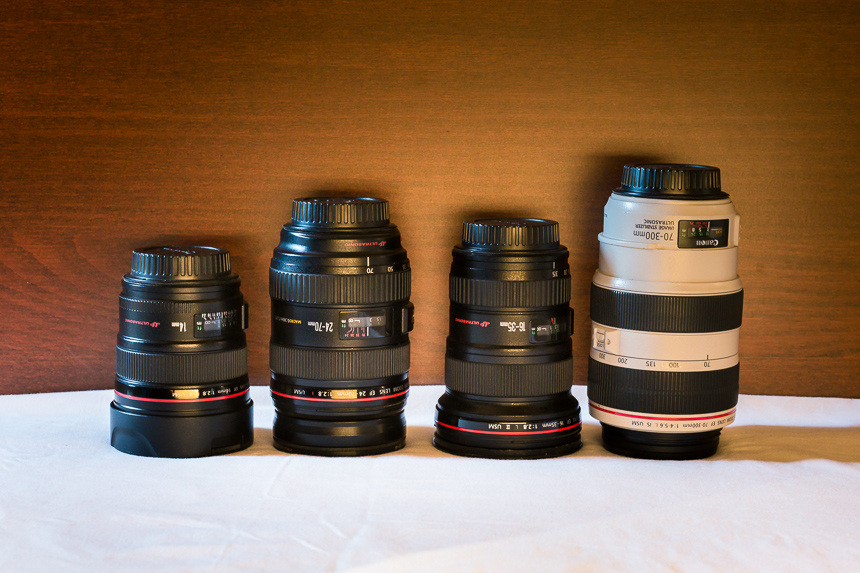 a photograph of canon L series lenses