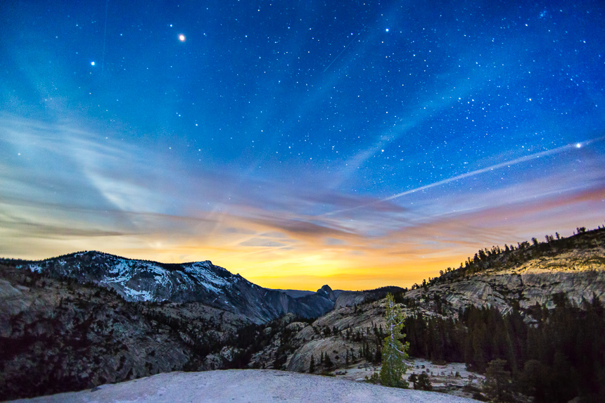 photograph of the night sky taken in Yosemite National Park