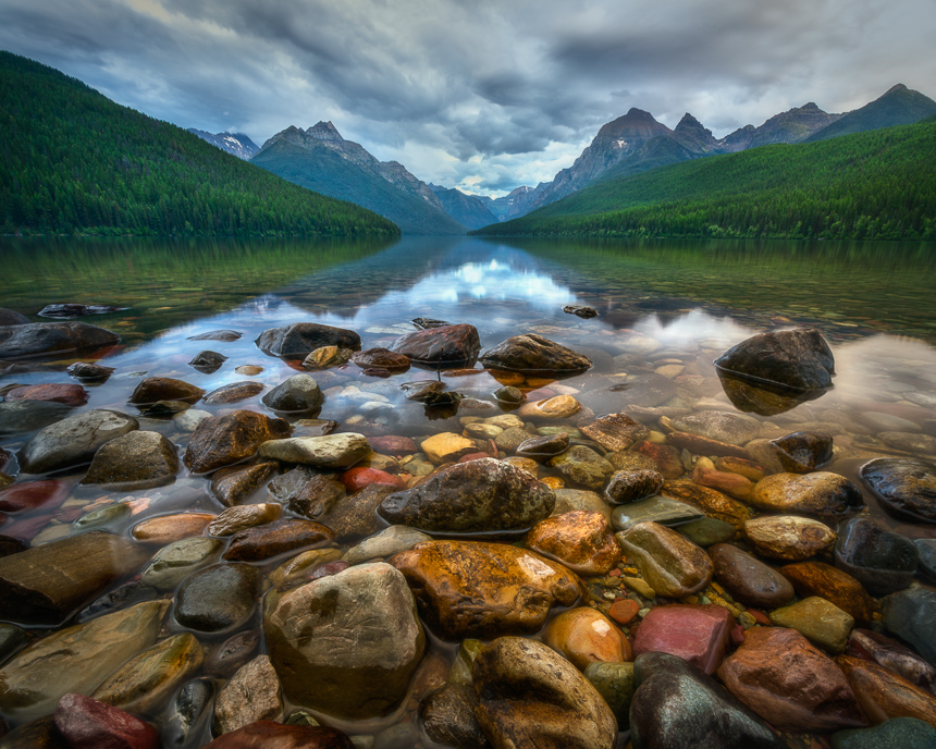 photo at bowman lake in glacier national park montana